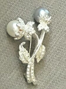 Long Swag Brooch Faux Pearl Rhinestone Pin Avon Statement Pin Gift For Lady