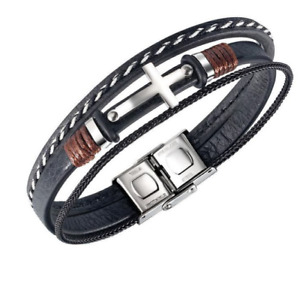 Men's Black Braided Leather Stainless Steel  Cross Bracelet Wristband Multilayer