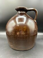 Antique American Brown Glazed Stone Jug Crock, Beehive Shape, pout, handled 1 g