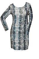 WOMEN LADIES ANIMAL SNAKE PRINT LONG SLEEVE DRESS TOP SIZE 8-10,12-14