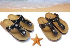 Flache Damen-Zehentrenner aus Echtleder für die Freizeit-Sandalen & -Badeschuhe