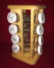 Kamenstein Hard Wood 16 Jar Revolving Lazy Susan Spice Rack Organizer Kitchen