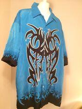 G O graphics Men's 7 Button Hawaiian Style Shirt blue Size Large c