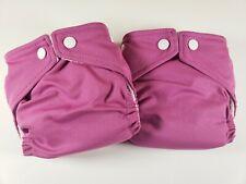 2 Fuzzi Bunz Perfect Size Cloth Diapers w Inserts Newborn 4-12 lbs Magenta Nwt
