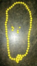 Vtg 50s Necklace and Clip On Dangle Earrings Set Bright Yellow Faux Pearl Beads