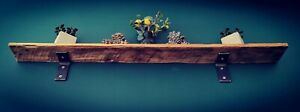 Lovely Reclaimed Slimline Wooden Shelf And Steel Brackets, Rustic, Industrial.