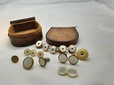 ANTIQUE LOT (16 ITEMS) OF SHIRT STUDS/BUTTONS & LEATHER CASE