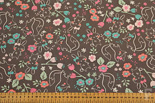 100% COTTON PRINTED FABRIC - FOX & BUNNY ON GREY BACKGROUND