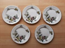 Gainsborough Fine China 5 Side Plates H37 Made In England Floral with Gold Trim
