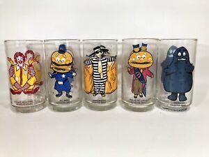 Vintage McDonalds 5 Collector Series Glasses 1970's Grimace Ronald Big Mac Mayor