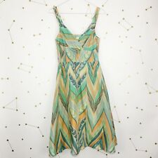 Anthropologie Dress Size 4 Green Lil Feather Swirl Silk Fit Flare Lined Boho