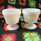 Two (2) Vintage White Milk Glass Footed Grape Pattern Dessert Cup Sherbet Dish
