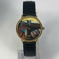 VP Art Watch Unisex Salvador Dali Round Quartz Analog Wristwatch Leather Band