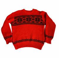 VTG Hand Knit Janus of Norway Wool Ski Sweater 1960s Scandinavian Womens M Red