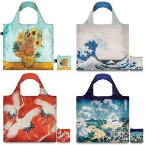 4 LOQI Shopping Gift Tote Bags Blue Sunflower, Crane, Great Wave, Mount Fuji,