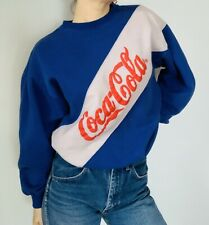 Vintage Blue Color Block Coca Cola Sweatshirt Women's Sm/M 80s