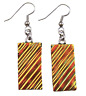 """Dichroic Glass Earrings Hot Copper Golden Orange Ripple 1"""" Dangle Surgical Wire"""