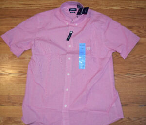 NWT Mens Chaps Easy Care Button Up Blue Red Green SS Dress Shirt M L XL XXL 3XL