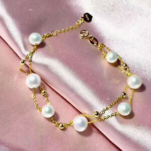 """Pure Solid 18K Yellow Gold Beads O Chain with Natural Pearl Women Bracelet 7.48"""""""