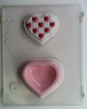 CHECKERED HEART POUR BOX CLEAR PLASTIC CHOCOLATE CANDY MOLD V145