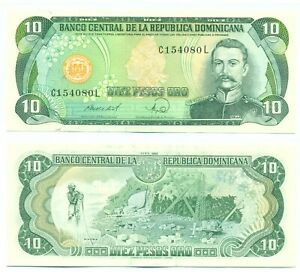DOMINICAN REPUBLIC NOTE 10 PESOS ORO 1988 P 119c UNC