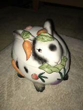 Fitz & Floyd Spotted Rabbit Bunny Lidded Box Easter Veggie Jar Kitchen Decor