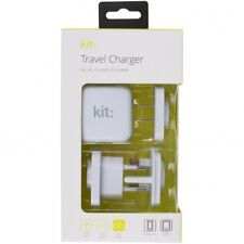 GENUINE KIT USB Travel Charger UK, EU, US - 2.4 A | White