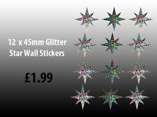 NEW! 12 x Glitter Star Wall Art Stickers Decals (12 x 45mm Glitter Stars)