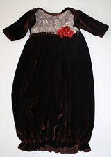 NWOT Haute Baby Girl Velour Brown Newborn 0-3 Months Rosette Gown Take Home NEW