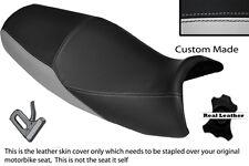 BLACK & LIGHT GREY CUSTOM FITS KAWASAKI ZZR 1200 ZX 1200 DUAL LEATHER SEAT COVER