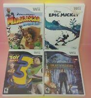 Nintendo Wii Wii U Games LOT Disney Toy Story 3 Epic Mickey Madagascar Kartz