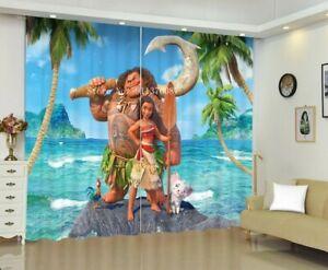 Moana & Maui Window Curtains 2 Panels Bedroom Summer Blackout Window Drape 2PCS