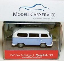 Wiking special edition: VW T2a Bus L (Achtsitzer) Model 1971, blue/white