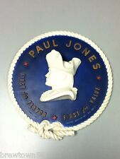 Paul Jones blended whiskey bar sign chalkware wall plaque relief bust chalk old