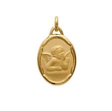 ángel colgante Oval Medalla Bautismo Chapado de oro