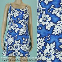 VTG 80s 90s Grunge blue white floral mini Hawaiian spaghetti strap sun dress SzS