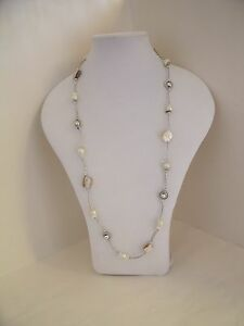 New Unusual Long Necklace - Silver Beads & Natural Cream or Black or Brown