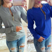 Women Autumn Long Sleeve Round Neck Hoodie Tops Sweater Solid Hoodie Top、Fad