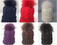 Slouchy Beanie Hats With Real Fur Pom Pom Winter Warm Women  Knit Snow Hat