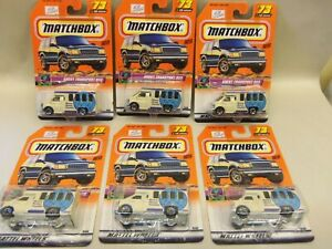 (6) Matchbox #73 CHEVY TRANSPORT BUS with MATCHBOX 2000 LOGO ....ALL SAME