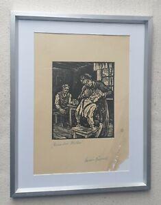 Erwin Görlach 1902-1974 rare original hand signed woodcut print (Holzschnitt)
