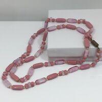 Vtg Pink Rose Art Glass Oval Bead Single Strand Necklace Brass Cylinder Barrel