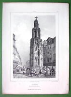 FRANCE Rouen Stone Cross Croix de Pierre - SUPERB Lithograph Original Print