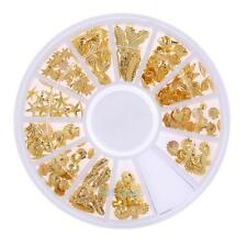 3D Metal Nail Art Gold Sea Horse Shell Feather Metallic Studs DIY Tips Stickers