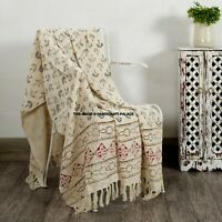 LARGE 100% Cotton Woven Sofa / Bed Throw Hand Block Print Blanket Indian Bedding