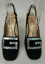 Gucci Madelyn Crystal Embellished Suede Slingback Pumps Black Size 36.5