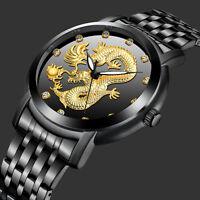 Men's Quartz Wrist Watch Dragon Crystal Black Hands Fashion Stainless Steel