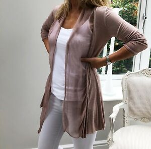 Fine Knit Dusty Pink Cardigan with 100% Silk Drape Front