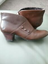 """BORN"" HAND CRAFTED BROWN LEATHER STEAMPUNK VICTORIAN ANKLE BOOTS SIZE 7.5"