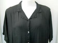 MIB Black Blouse Size 2X Clear Sparkly Buttons Front 100% Rayon Short Sleeves